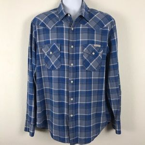 Lucky Brand Western Shirt Linen Cotton Plaid L
